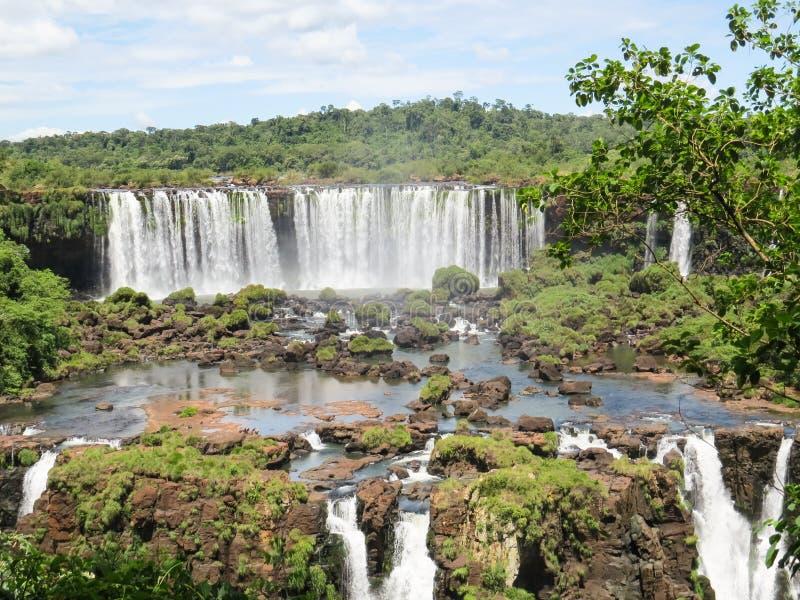 福兹做Iguaçu,巴西,伊瓜苏瀑布的秋天的部份看法,在森林中间 库存图片