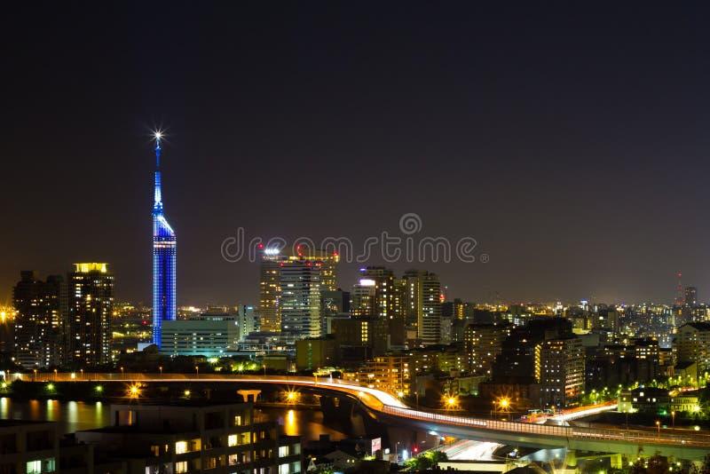 福冈市在晚上 库存照片