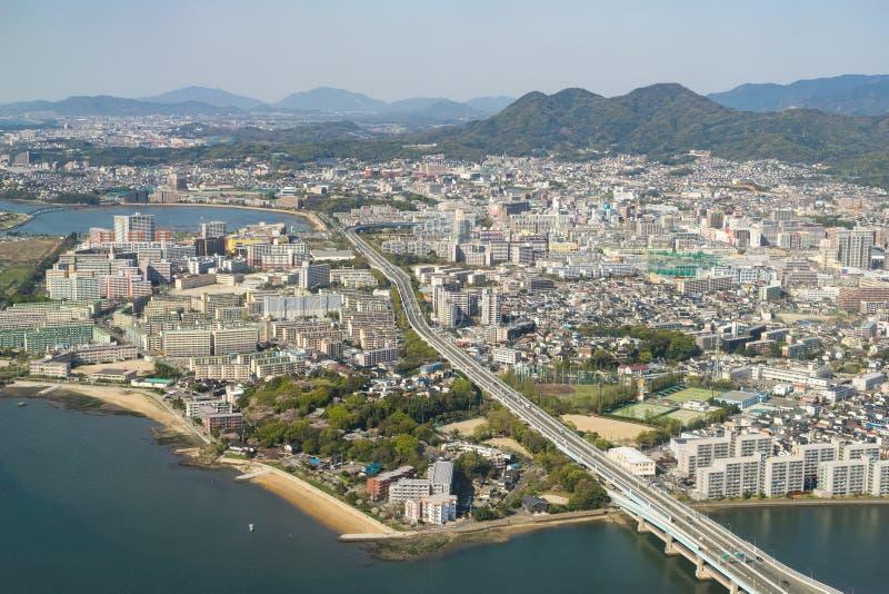 福冈市鸟瞰图  库存照片