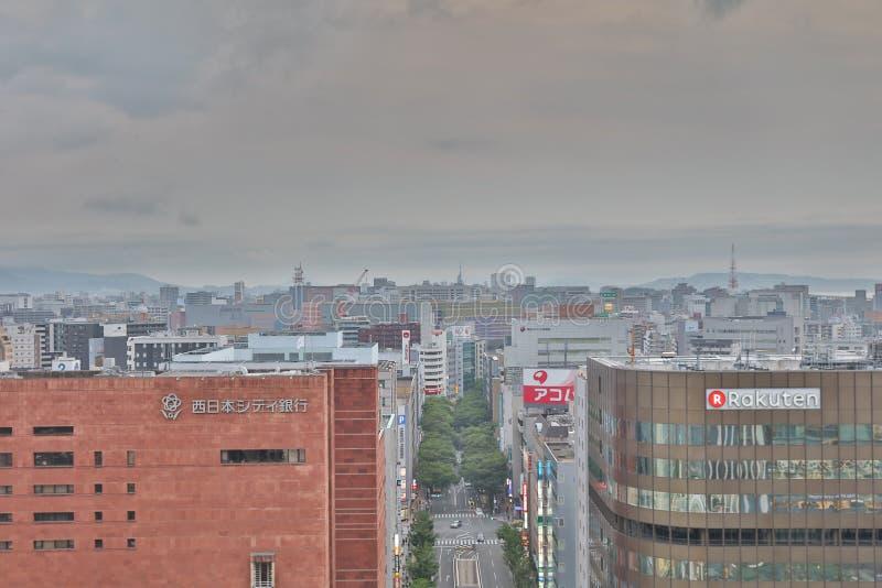 福冈是大城市在九州 免版税库存照片