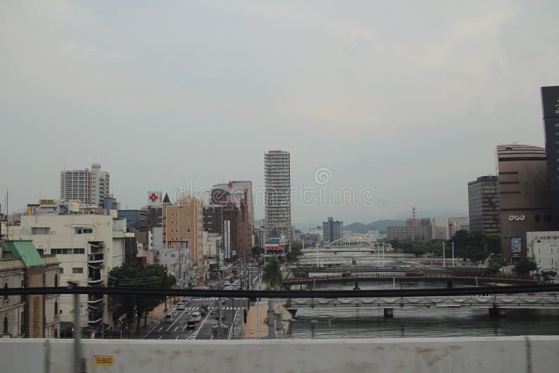 福冈都市风景看法在九州,日本 免版税库存图片