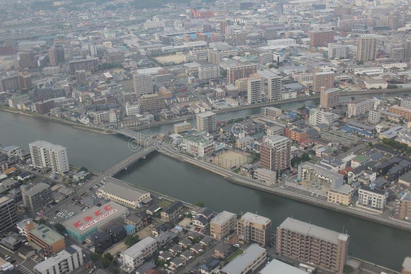 福冈都市风景看法在九州, 2016年 库存图片
