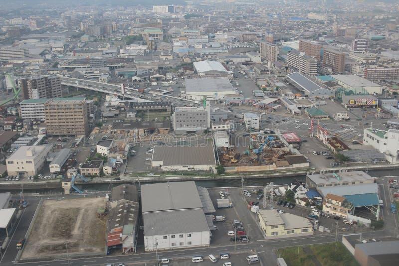 福冈都市风景看法在九州, 2016年 免版税库存照片