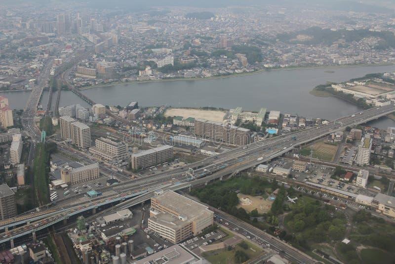 福冈都市风景看法在九州, 2016年 免版税库存图片