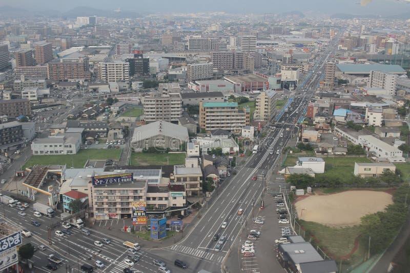 福冈都市风景看法在九州, 2016年 免版税图库摄影