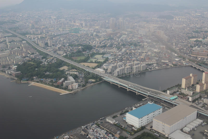 福冈都市风景看法在九州, 2016年 图库摄影