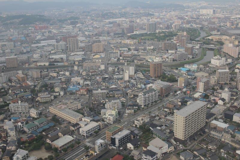 福冈都市风景看法在九州, 2016年 库存照片