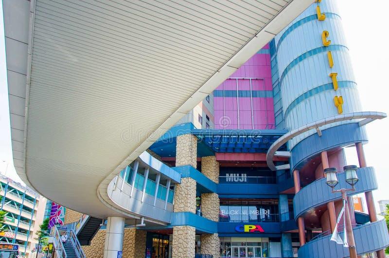 福冈,日本- 2014年6月29日:运河城市shopsping的购物中心 库存照片
