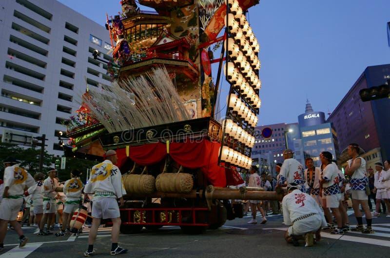 福冈,日本5月12日2017年:在的一个浮游物与九州节日 免版税库存照片