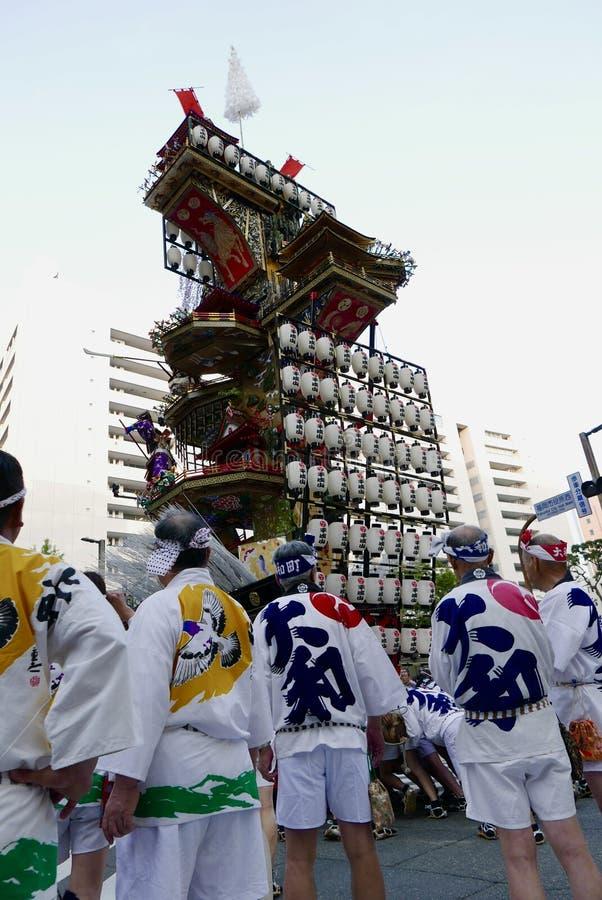 福冈,日本5月12日2017年:在的一个浮游物与九州节日 库存图片