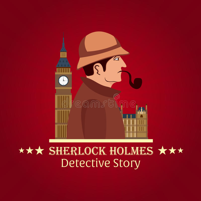 福尔摩斯海报 侦探例证 与福尔摩斯的例证 贝克街道221B 伦敦 大的禁令 向量例证