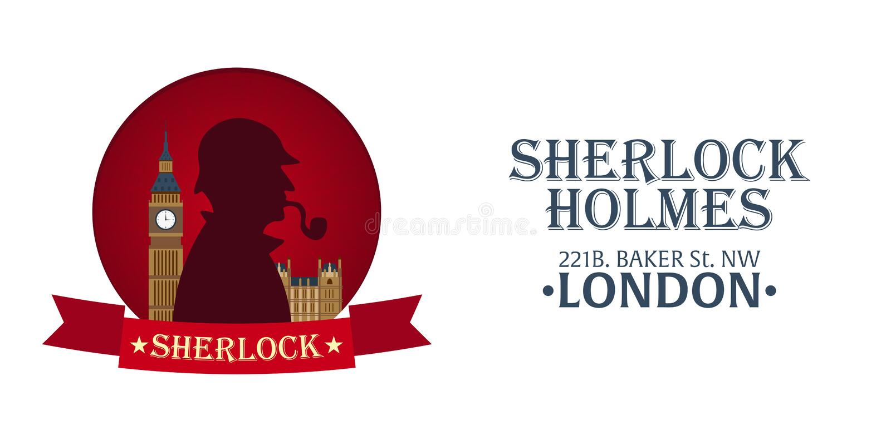 福尔摩斯海报 侦探例证 与福尔摩斯的例证 贝克街道221B 伦敦 大的禁令 皇族释放例证