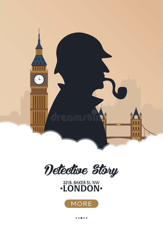福尔摩斯海报 侦探例证 与福尔摩斯的例证 贝克街道221B 伦敦 大的禁令 库存例证