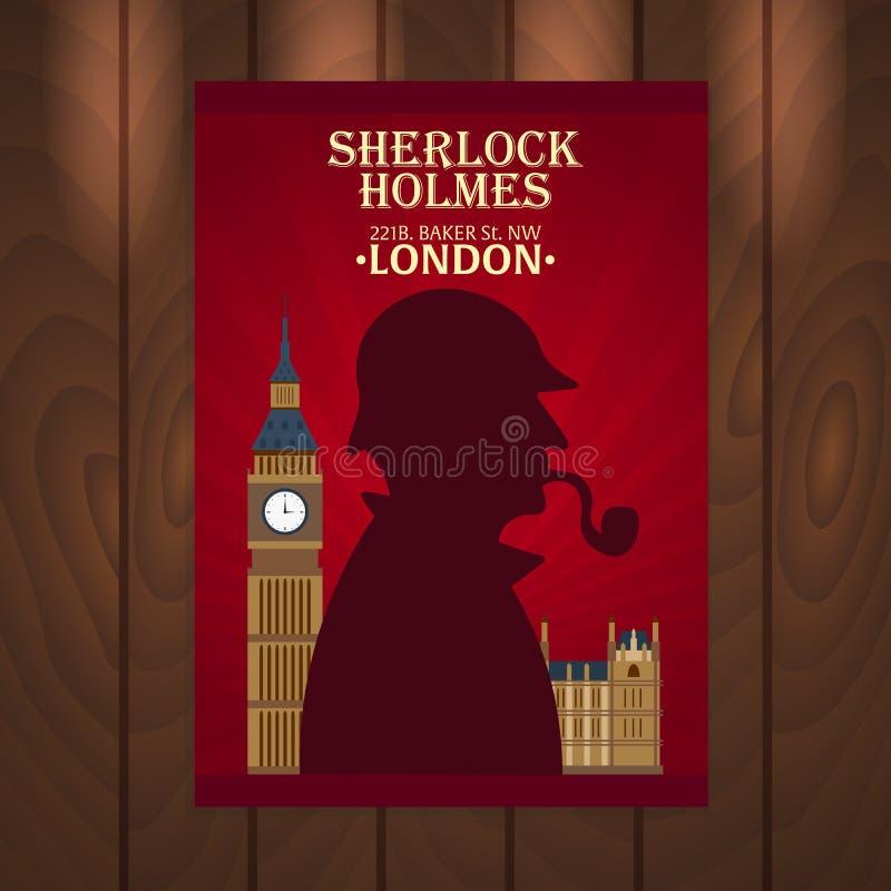 福尔摩斯海报 贝克街道221B 伦敦 大的禁令 库存例证