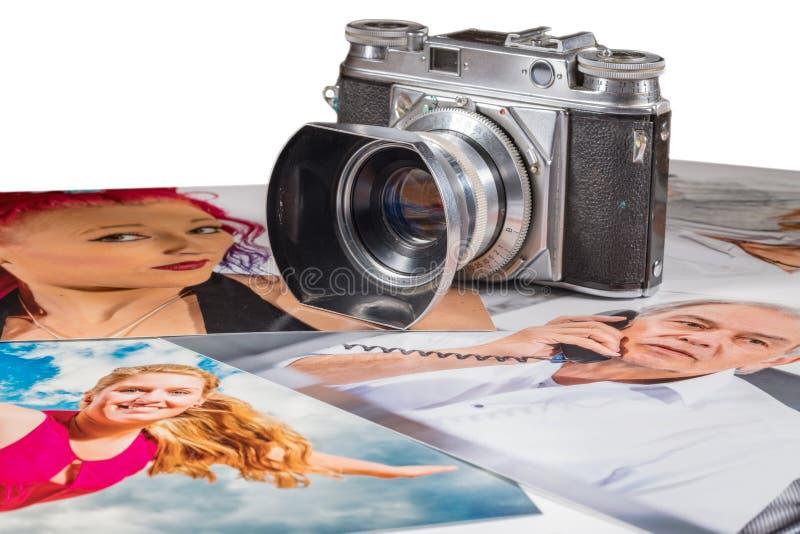 福托照相机在与人画象的几张图片  免版税库存图片