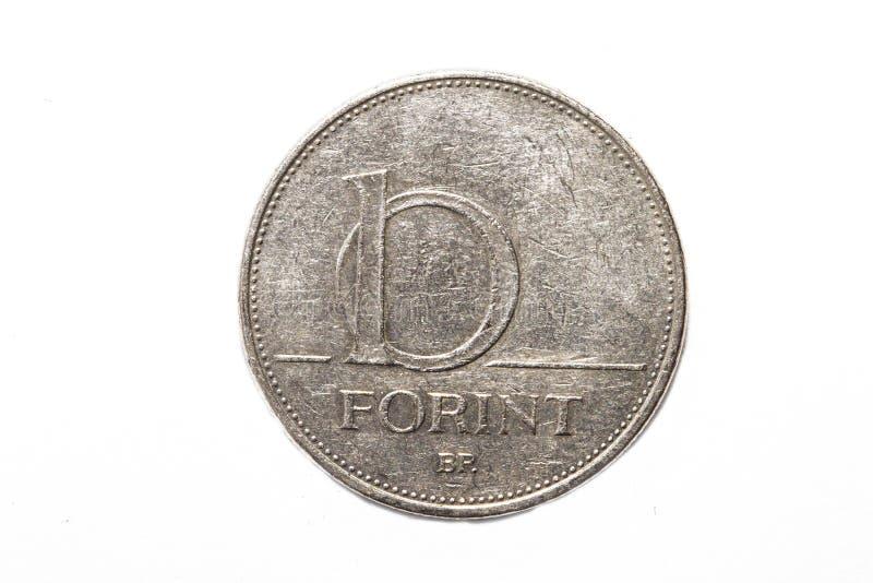 福林标志:Ft;代码:HUF是匈牙利的货币 在被隔绝的白色背景的硬币 免版税库存照片