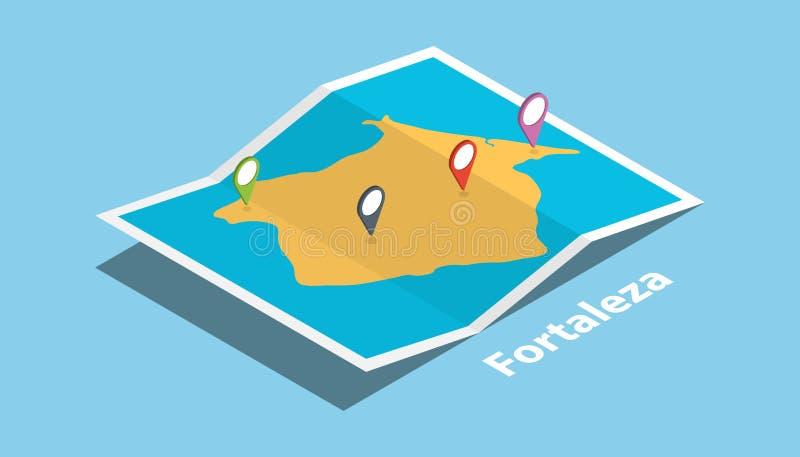 福特莱萨巴西探索有被折叠的地图的地图地点并且别住地点在等量样式的制造商目的地 库存例证