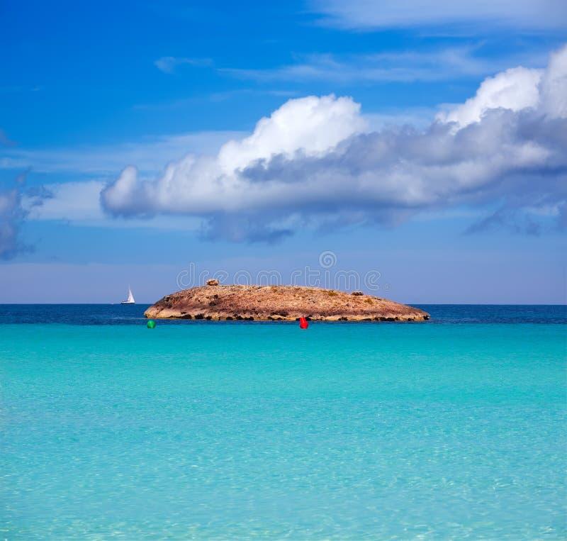福门特拉岛海滩的Illetes Illetas海岛在拜雷阿尔斯 库存图片