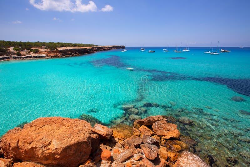 福门特拉岛Cala Saona海滩巴利阿里群岛 库存图片