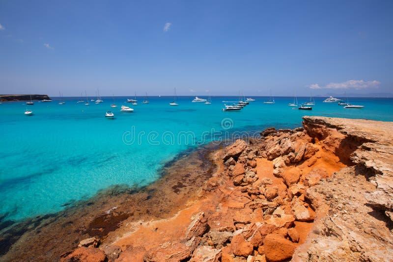 福门特拉岛Cala Saona海滩巴利阿里群岛 免版税图库摄影