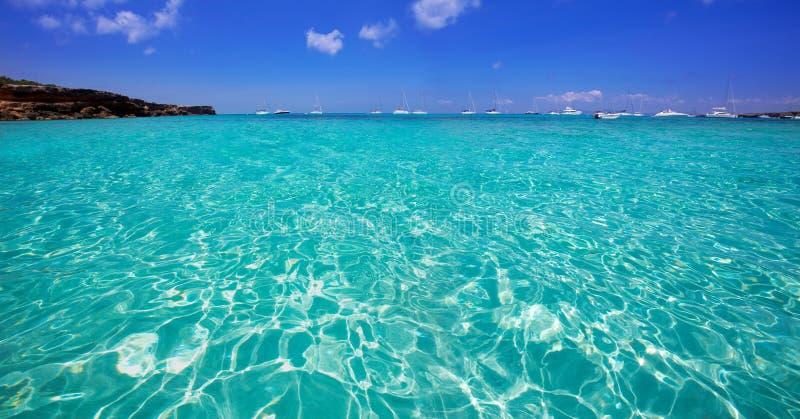 福门特拉岛Cala Saona海滩巴利阿里群岛 库存照片