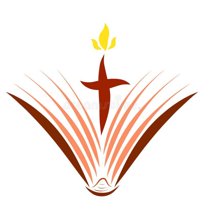 福音书布道、开放书和十字架与火焰 皇族释放例证