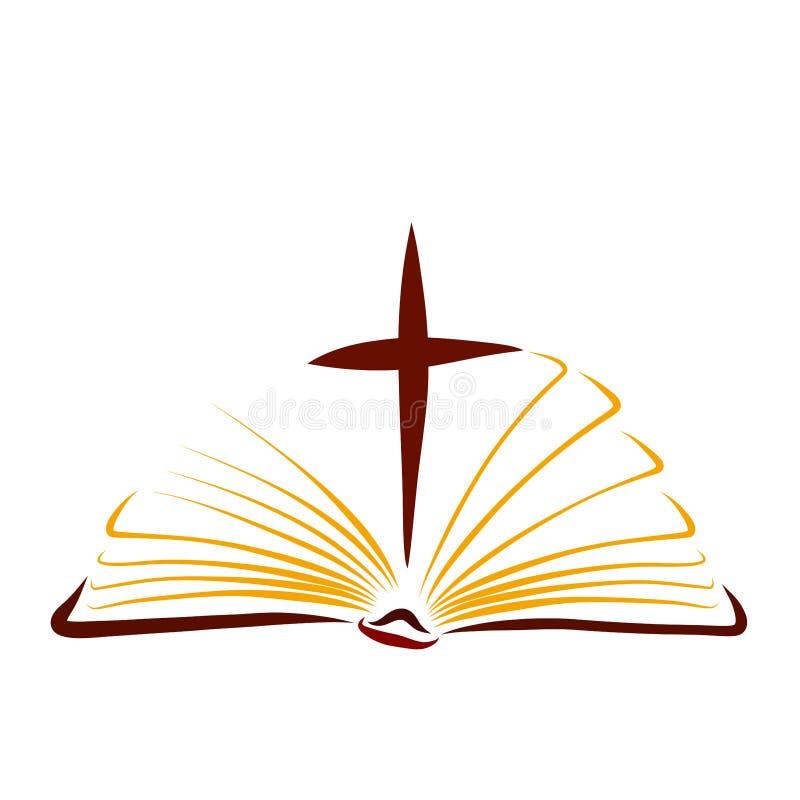 福音书,与十字架的开放圣经在页之间 向量例证