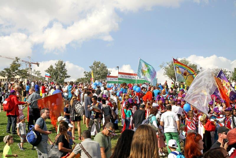 福音派基督徒队伍的参加者在Jeru 库存图片