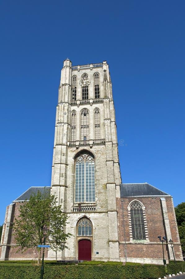 福音派格罗特Kerk St Catharijnekerk在布里勒 库存图片