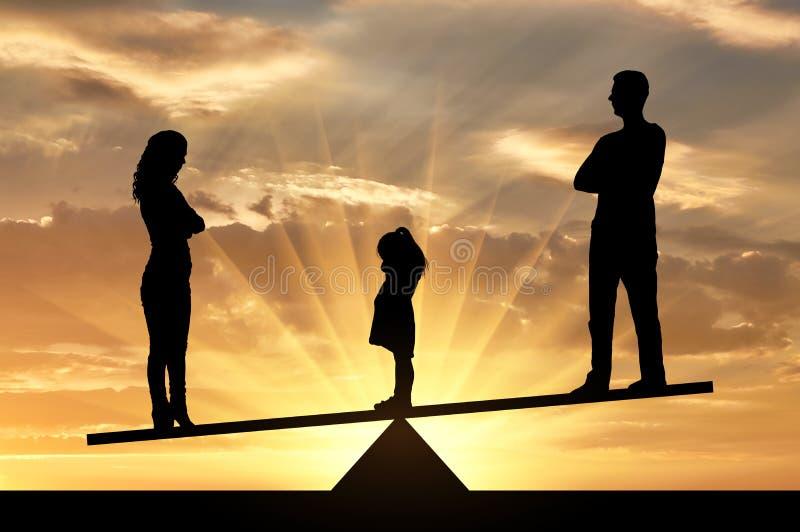 离婚的孩子概念和分裂  库存照片
