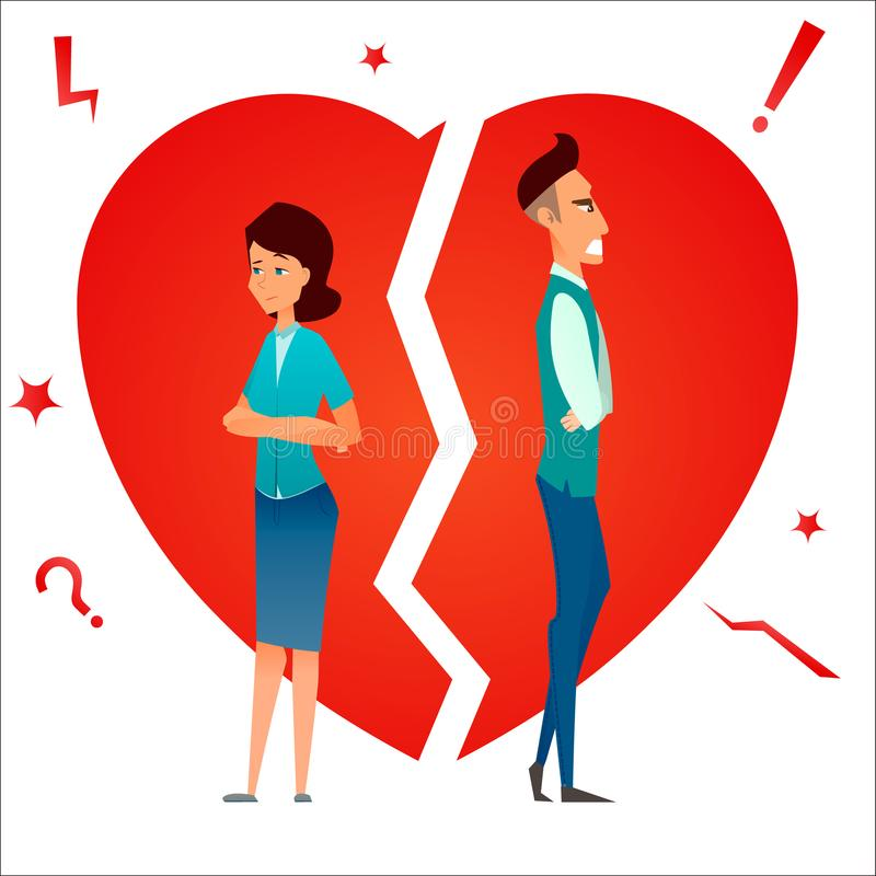 离婚 争论冲突有家室的人孕妇 破坏关系 已婚夫妇男人和妇女恼怒和哀伤反对伤心 动画片characte 库存例证