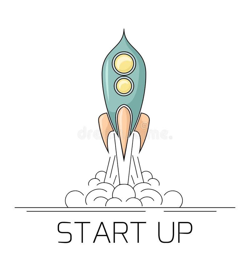 离开与烟的一艘减速火箭的太空火箭的等高例证 开始与starship的项目 线性图画 皇族释放例证