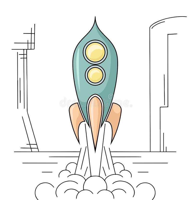 离开从航空基地的减速火箭外形图 E 传染媒介线性图画 向量例证