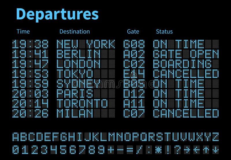 离开和到来机场数字式板导航模板 与被带领的信件和数字的航空公司记分牌 皇族释放例证
