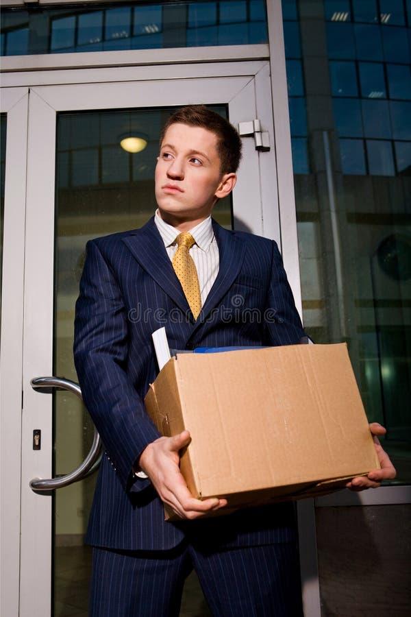 离开经理失业者的商务中心 免版税库存照片