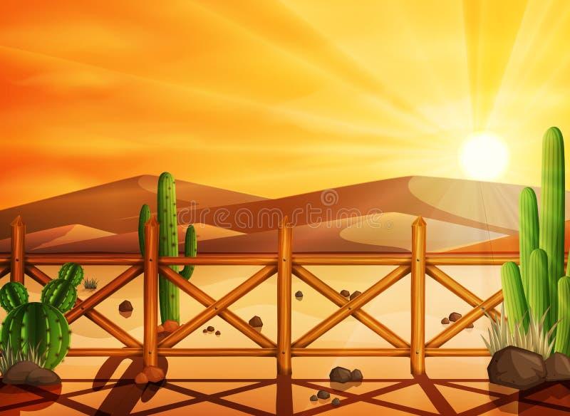 离开风景用在日落背景的仙人掌 皇族释放例证