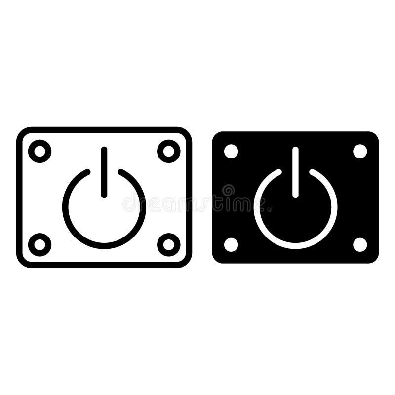 离线通电和纵的沟纹象 力量按钮在白色隔绝的传染媒介例证 开始概述样式设计 皇族释放例证