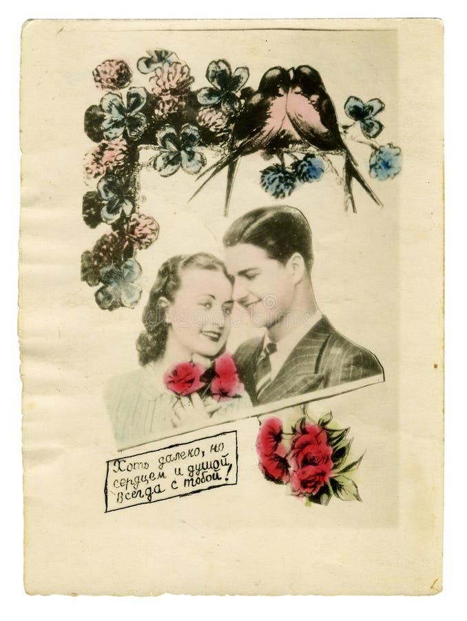 秀丽五颜六色的夫妇照片葡萄酒年轻&# 免版税图库摄影