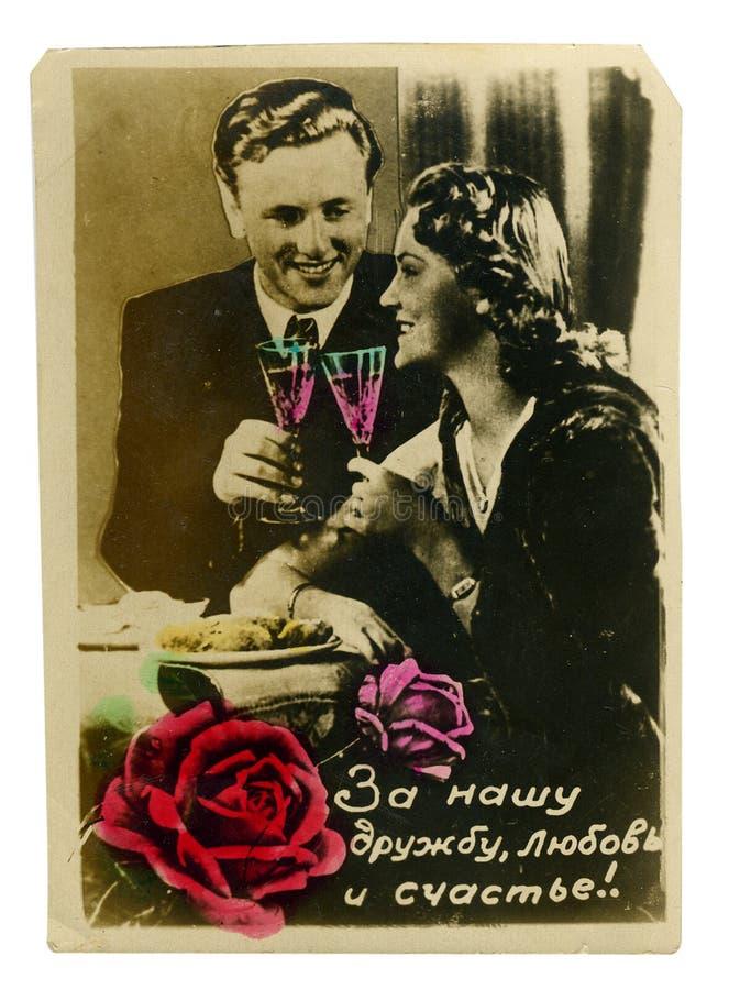 秀丽五颜六色的夫妇照片葡萄酒年轻&# 免版税库存图片