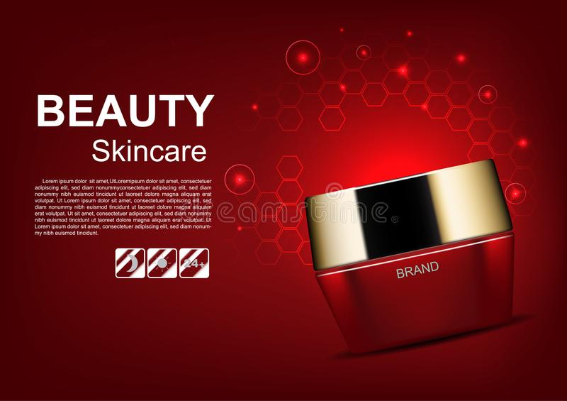 秀丽化妆广告、红色奶油与发光的光和六角形 向量例证