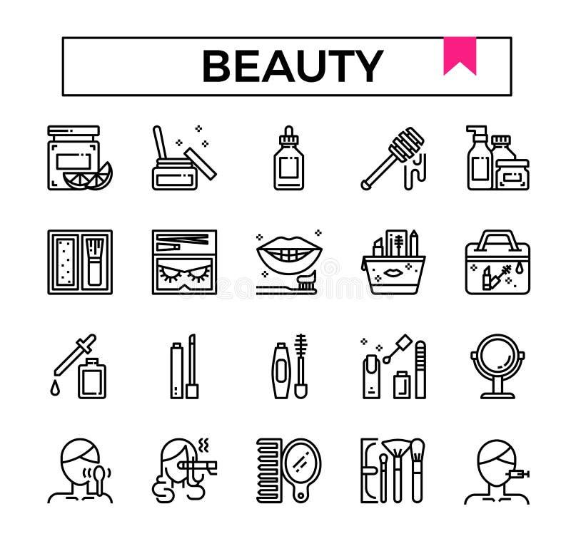 秀丽和化妆用品概述设计象集合 皇族释放例证