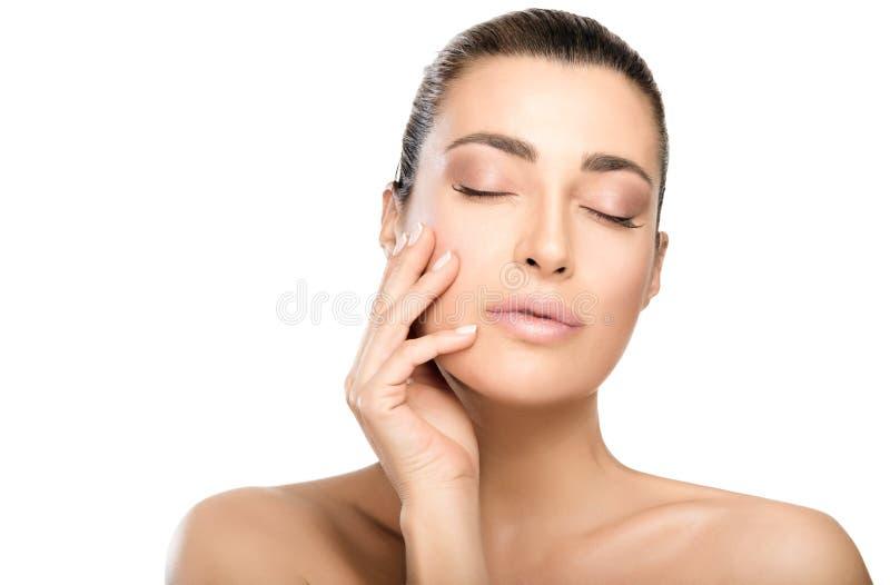 秀丽和skincare概念 自然少妇面孔 库存照片