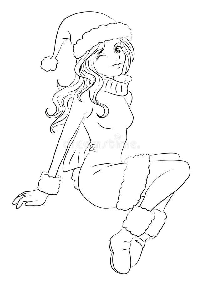 秀丽圣诞节女孩组成 皇族释放例证