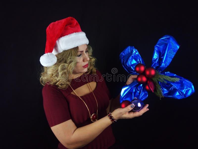 秀丽圣诞节女孩组成 图库摄影