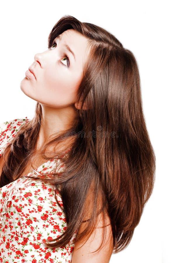 秀丽头发长的妇女年轻人 库存图片