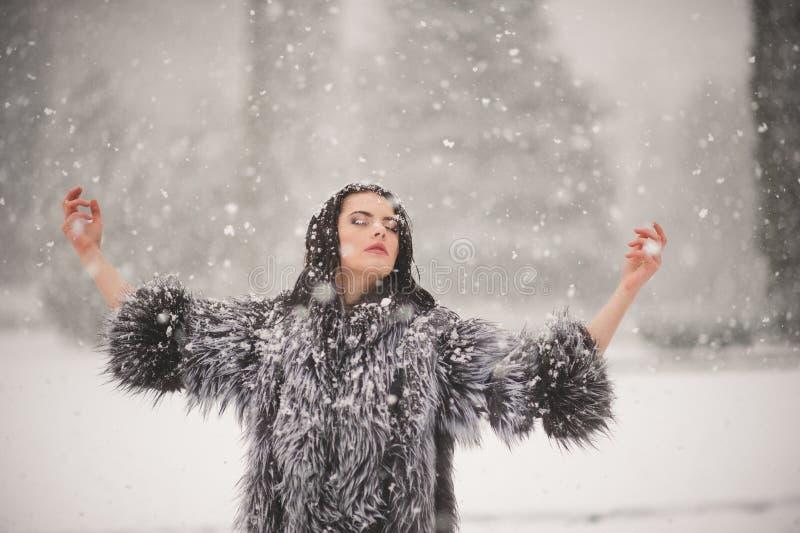 秀丽女孩冬天画象有雪的 库存照片