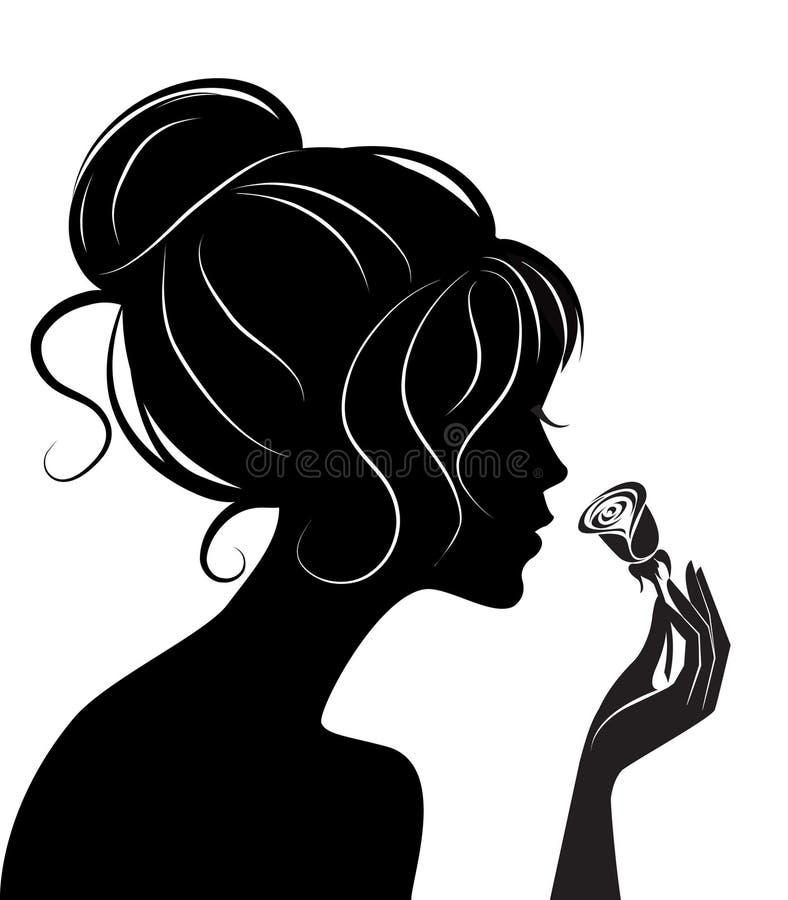 色性艺术_秀丽女孩玫瑰色剪影向量例证.图片包括有女性,例证,魅力,题