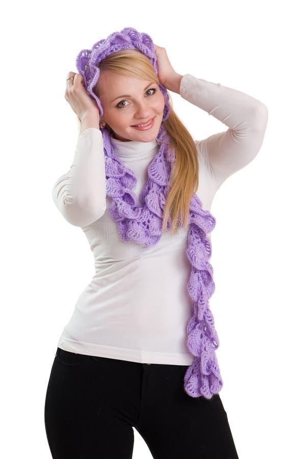 秀丽女孩紫色围巾 库存照片
