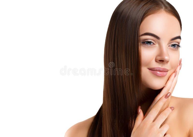 秀丽女孩面孔画象 有Perfec的美丽的温泉模型妇女 库存照片