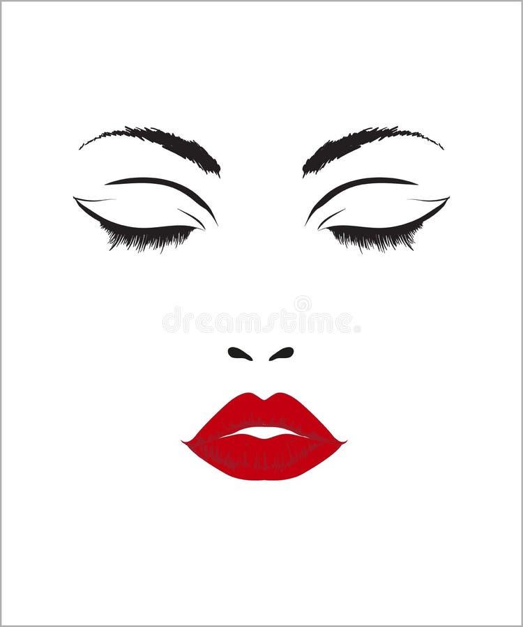 秀丽妇女面孔,美丽的女孩画象 向量例证